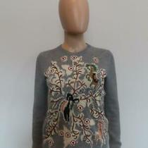 Christian Dior Grey/multicolor 100% Cashmere Embroidered Sweater Size F 36/us 4 Photo