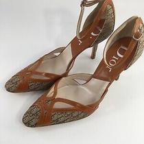 Christian Dior Heels Logo Pumps Brown Tan Size 39 Euro Us 9 Strap Photo