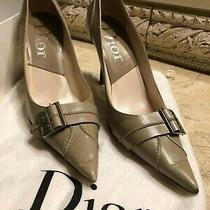 Christian Dior High Heel Pumps Silver Dior Embellishment Sz 37 Photo