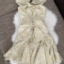 Christian Dior John Galliano Vintage Gold Jacquard Corset Lace Top Skirts Suit  Photo