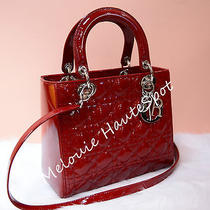 Christian Dior Lady Wine Red Patent Leather Silver Hw Medium Tote Bag 5 Quilts Photo