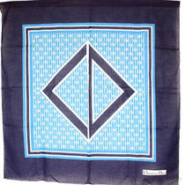 Christian Dior Large-Format Scarf Blue White System Cotton Stall Cd Logo Pattern Photo