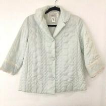 Christian Dior Lingerie Baby Blue Quilted Bed Jacket Lace Collar & Cuffs Vintage Photo
