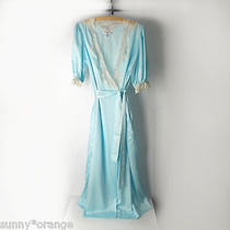 Christian Dior Lingerie M Long Blue Satin Lace Wrap Robe Peignoir Vintage 70s  Photo