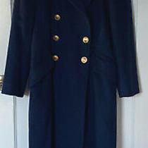 Christian Dior Loro Piana Womens Double Breasted Cashmere Navy Long Coat Sz 4 Photo