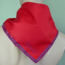 Christian Dior Luxurious 100% Silk Vtg Red Scarf W Navy Border - Made in Italy Photo
