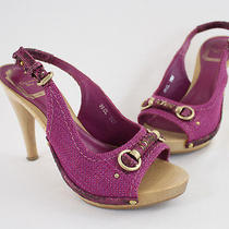 Christian Dior Magenta Canvas Wood Platform Heel Slingback Sandal Shoe Sz 36 6 Photo