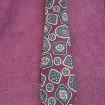 Christian Dior Men's Silk Necktie Burgundyteal Olive Cream Shamrocks Clovers Photo