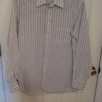 Christian Dior Mens White & Gray Striped Dress Shirt Nice Size 15 1/2 34-35 Photo