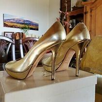 Christian Dior Miss Dior Heels Gold Leather Platform Peeptoe 36  Photo