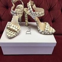 Christian Dior Miss Dior Platform Sandals Heels Beige Croc 37.5  Photo