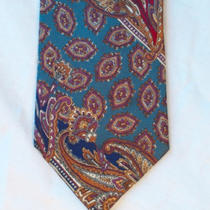 Christian Dior Monsieur Blue Aqua Red Paisley Tie Photo