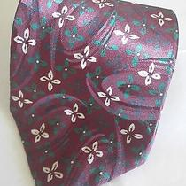 Christian Dior Monsieur Dark Red Stain Glass Flower Window Design Silk Tie  2-4 Photo