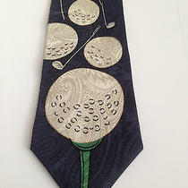 Christian Dior Monsieur  Men Tie Golf Ball Club Navy Green Tee Golfer Golfing  Photo