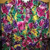 Christian Dior Petites Bright Colored Floral Print Blazer Jacket 10  Photo