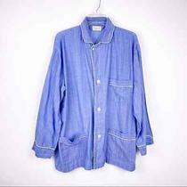 Christian Dior Pyjama Blue White Pin Striped Pajama Top Men's Large Read Photo