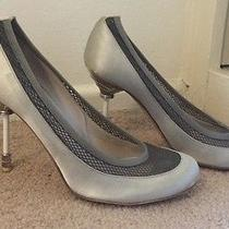 Christian Dior Rare Iconic Mesh Fishnet Grey Satin Pumps Silver Unique Heel 38 8 Photo