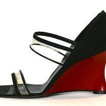Christian Dior Red Lacquer & Black Peau De Soie Silk Satin Wedge Shoes Sz 39.5  Photo