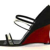 Christian Dior Red Lacquer & Black Peau De Soie Silk Satin Wedge Shoes Sz 39.5  Photo