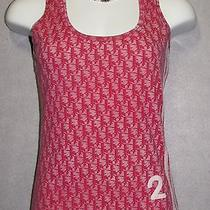 Christian Dior Red Logo Print Cotton Blend Tank Top Shirt Sz 6  Photo
