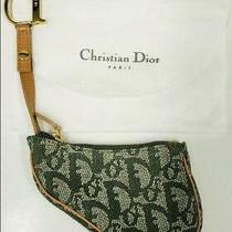 Christian Dior Saddle Khaki Green Jacquard Campus Coin Case Purse Photo