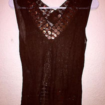 Christian Dior See Through Brown Beaded Sleeveless Shirt Made in Italy Photo
