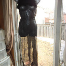 Christian Dior Sheer  Black Nighty Negliee With Feather Trim Sheer S Photo