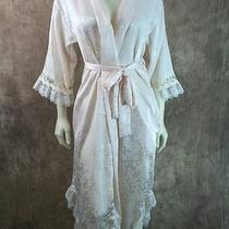 Christian Dior Sz P Pale Pink Floral Embossed Lace Trim Wrap Robe Gown Lingerie Photo
