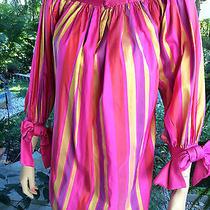 Christian Dior Taffeta Silk Striped Vintage Dress 6-8 Photo