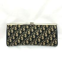 Christian Dior Trotter Logo Purse Clutch Bag Gamakuchi Canvas Clasp Navy Beige Photo