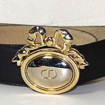 Christian Dior Vintage Black Belt With Bow Logo Design Buckle M/l  Worn Photo