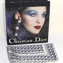 Christian Dior Vintage Blue Logo Bandana Scarf With Gift Bag Photo