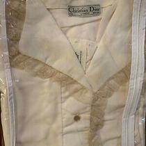 Christian Dior Vintage Ivory Long Robe Pajamas Nightgown Lace  Lingerie New /tag Photo