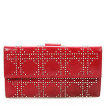Christian Dior Womens Leather Silver Studded Tri Fold Wallet Red Photo