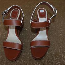 Christian Dior Yacht Women Us Sz 9 Safari Brown Wedge Sandal  14712  List 696 Photo