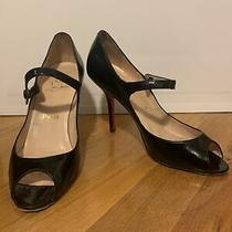 Christian Louboutin 38 Black Patent Leather Peep Toe Heel Pumps Photo