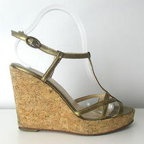 Christian Louboutin 39.5 Bronze Leather Sandals Cork Wedges Authentic Photo