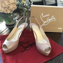 Christian Louboutin 40 Paris Beige Nude Slingback Heels Perfect Sole & Heel Caps Photo