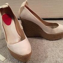 Christian Louboutin 40 Wedge Heel Shoes Beige Sexy Strap Bag Photo