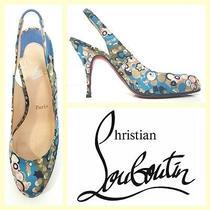 Christian Louboutin 625 Bright Colorful Print Silk Slingback sandals35.5 Photo