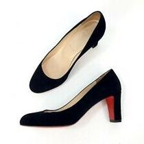 Christian Louboutin 70mm  Black Suede Round Toe Block Heel Pumps Shoes Size 38 Photo