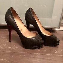 Christian Louboutin Altadama  Snakeskin Peep Toe Pumps Size 38 Photo