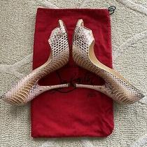 Christian Louboutin Beige/blush Multi Snakeskin Python Peep Toe Heels 37.5/7 Photo