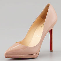 Christian Louboutin Beige Nude Pigalle Plato Patent Platform Pump Nude 41.5 11.5 Photo
