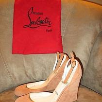 Christian Louboutin Beige Suede Ankle Strap Wedges Us 6 1/2m Nwob W/ Dustbag Photo