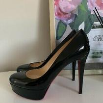 Christian Louboutin Bianca Almond Toe Platform Pump Black Patent Leather 40.5 Photo