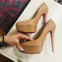 Christian Louboutin Bianca Nude Leather Patent Platform Pump Heels Size 38 (Eur) Photo