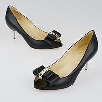 Christian Louboutin Black Leather Couche Nodo 70 Studded Kitten Heels Size 5/35. Photo