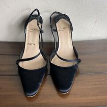 Christian Louboutin Black Patent Heels Pumps Size 38 1/2 Photo
