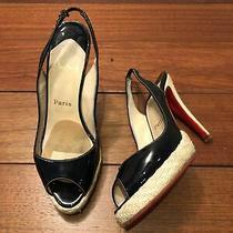 Christian Louboutin Black Patent Leather Slingback Pumps Size 38.5 Photo